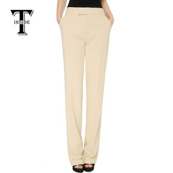 T-Inside Women's Elegant Mid Waist Straight Pants Trousers  Long Length High Quality Daily Wear for Work and Office Solid Colors