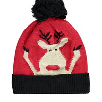 Reindeer Graphic Ribbed Beanie - Womens accessories, jewellery and bags | shop online | Forever 21 - 2000158169 - Forever 21 EU English