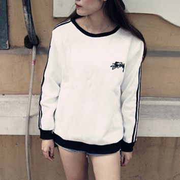 Stussy Loose upset three bar sports leisure turtleneck sweaters for men and women