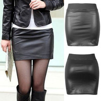 Women Sexy Black PU Leather Pencil Bodycon High Waist Mini Dress Short Skirt = 5660112001