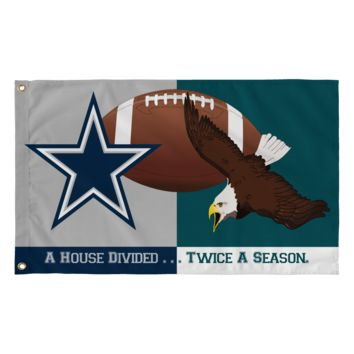 "Dallas Football ""House Divided"" with Philadelphia Flag; 36""x60"""