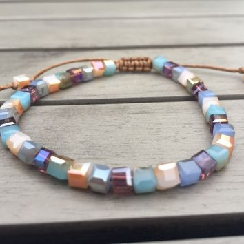 Iridescent Square Crystals Friendship Bracelet