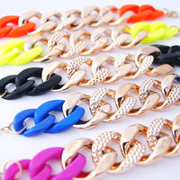 Gold Chunky Chain Bracelet Orange, Yellow, Black, Blue, Magenta (Adjustable Sizing)