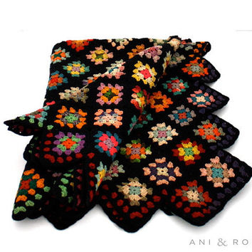 Vintage WOOL Granny Square Afghan Blanket by aniandrose on Etsy