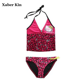 XABER KIN Girls Swimsuit Two-Piece Hello Kitty Beachwear Girls Lovely Bathing Suits Girls Children Swimwear 7-14T SW624-CGR1