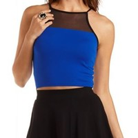 Mesh Yoke Racer Front Crop Top by Charlotte Russe - Cobalt