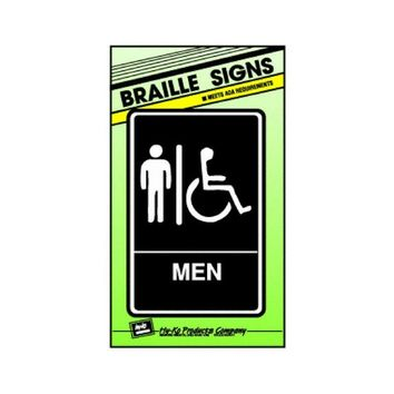 "Hy-Ko DB-1 Braille Men/Handicapped Restroom Sign, 6"" x 9"""