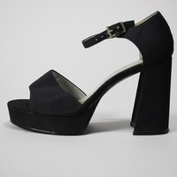 Vintage Platform Pumps 90s Black D'Antonio Column Sandals 6 1/2 70s Style