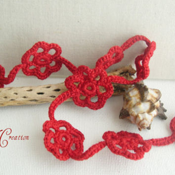 Crimson Red Long Floral Crochet Necklace - Romantic Flower necklace - Mother's day gift  idea - Flower Necklace - Crochet Necklace 2013