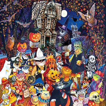 Cats and Dogs on Halloween 300pc Jigsaw Puzzle