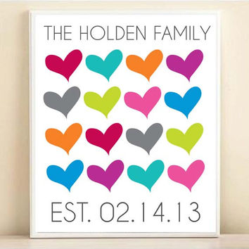 Personalized Couple Names Established Family Date Art Print: Custom 8x10 or 11x14 Wedding Engagement Gift