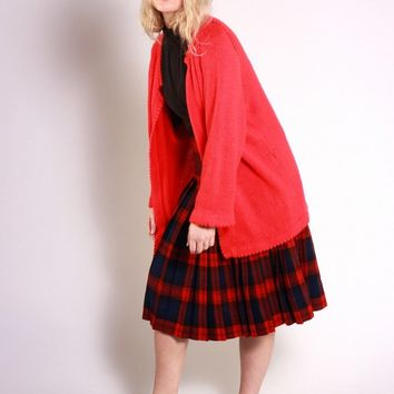 Bright Red Open Front Cardigan / L XL