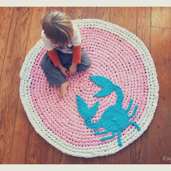 Custom Crochet Crab Rug Cotton Pink, Teal, And White Round Circle Rug  Custom Colors