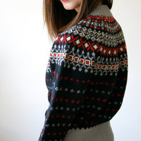 50s Nordic Sweater. Vintage Abercrombie and Fitch Scandinavian Sweater. Ski Sweater. Wool Sweater Made in Denmark. Extra Small / Small.