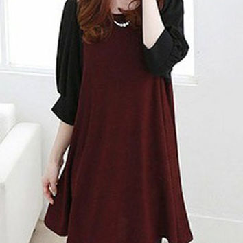 Red Color Block Half Sleeve Maternity Dress