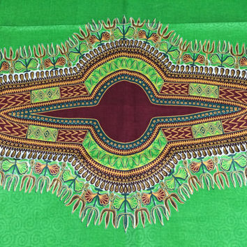 Kenyan Fabric--Dashiki Style Print--African Wax Print Fabric--Green and Maroon with Woven Swirls--Dashiki Fabric by the PANEL