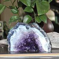 "3.8lbs. Amethyst Cathedral Geode Cave Tower, 7"" across x 4.5"" tall, Chakra, Reiki Healing, Boho Home Decor, Rock & Crystal Shop"