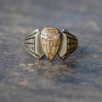 Vintage Ostby Barton Ring Art Deco 10K Yellow Gold Signet Style Class Ring Shield Initials GPS Size 7 3/4 US 1928 // Antique Fine Jewelry