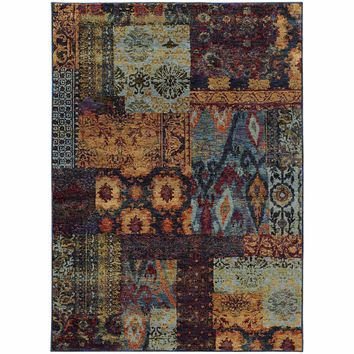 Andorra Multi Blue Abstract Ikat Transitional Rug
