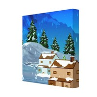 Winter Snowfall Illustration Wrapped Canvas