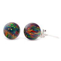 Aurora: 8mm Black Created Opal Ball Stud Post Earrings, Solid 925 Sterling Silver