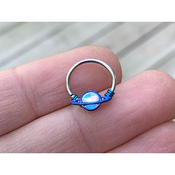 Saturn Planet Daith Hoop Ring Rook Hoop Cartilage Helix Tragus