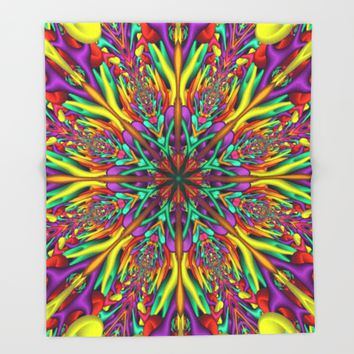 Crazy colors 3D mandala Throw Blanket by Natalia Bykova