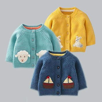 children sweaters new autumn cotton cartoon embroidery baby boys girls sweater single breasted knitwear cardigan kids clothes