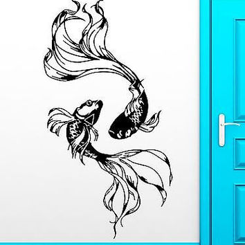 Wall Sticker Fishes Water Marine Ocean Beautiful Cool Decor For Bedroom  (z2512)