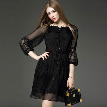 Lantern Sleeve Floral Embroidery Women Dress 2017 New Elegant Perspective Black Mesh Party Dress Tie Lace High Waist Dress 2XL