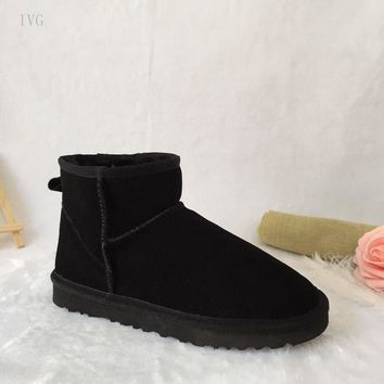 IVG Australia ugs Real Genuine Leather Female Furry Boots ankle Winter Snow Boots Shoes with warm for Women classic style boots