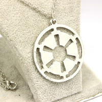 Silver Plated Popular Hollow Star Wars Galactic Empire Chain Necklace FREE