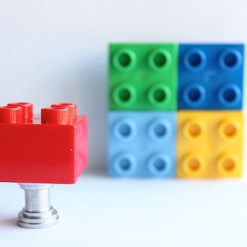 Kids Drawer Knobs made with Toy Brick in Red (TK03)