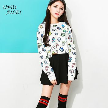 Women Harajuku Hoodie Short Feminino White  Alien Print Sweatshirt Women Kawaii Kpop Crooped Dance Clothing HoodiesKawaii Pokemon go  AT_89_9