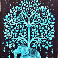 Tree Of Life Tapestry, Indian Elephant Tapestry, Tree- Elephant Tapestry, Indian Tapestry, Twin Age Dorm Bedding, Tree of Life Tapestry