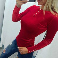 DCCK8H2 Women Solid Color Velvet Buttons Decoration Long Sleeve Bodycon T-shirt Sweater Tops