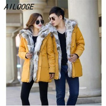 AILOOGE Fur Collars High-end Luxury Thick Winte Winter Coat