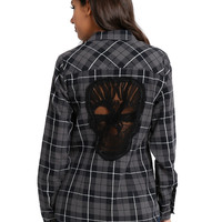 Grey Skull Plaid Girls Woven
