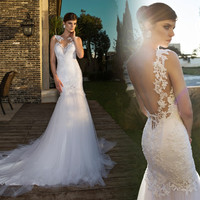 Vestido de noiva Sexy Backless Wedding Dress 2016 Illusion Neck Sleeveless Court Train Appliques Tulle Mermaid Wedding Gowns