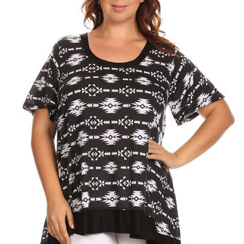 Canari White/Black Aztec Print Tunic Women's Plus Size