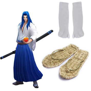 Free Shipping SNK Samurai Spirits Ukyo Tachibana Wooden Straw sandals and Two-tips Soks Game Cosplay Accessories