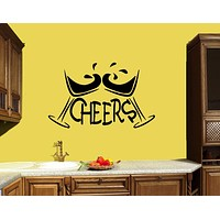 Wall Decal Martini Cheers Bar Decoration Cafe Drink Vinyl Sticker (ed925)