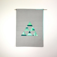 Triangle Baby Quilt, Modern Quilt, Wall Hanging, Geometric, Triangle, Aqua, Gray, Teal