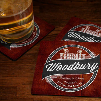 Walking Dead Coaster Set - Woodbury Beer Coasters Governor's Choice Lager Coaster Beer Coasters