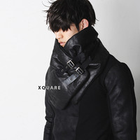 Dark Padded Crack Leather Scarf