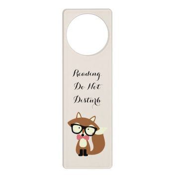 Bow Tie and Glasses Hipster Brown Fox Personalized Door Knob Hangers