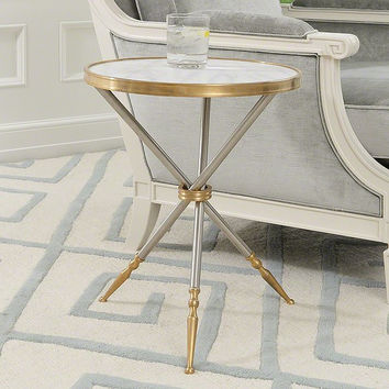 Global Views Campaign Side Table-White Marble Top - Global Views 8-82034