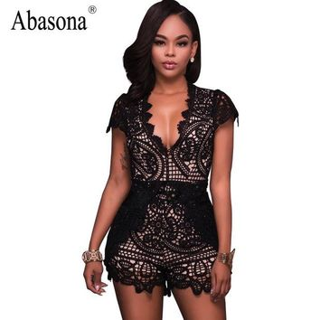 ONETOW Abasona Black floral embroidery bodysuit Sexy deep v neck boho lace crochet jumpsuit romper Summer fashion streetwear playsuit
