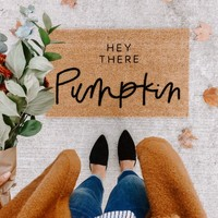 hey there pumpkin | fall decor | hello welcome mat | hand painted, custom doormat | cute doormat | outdoor doormat | Black Friday  |