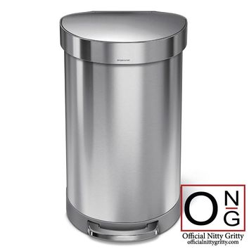Simplehuman Brushed Stainless Steel Semi-Round Step-On Trash Can 45- Liter